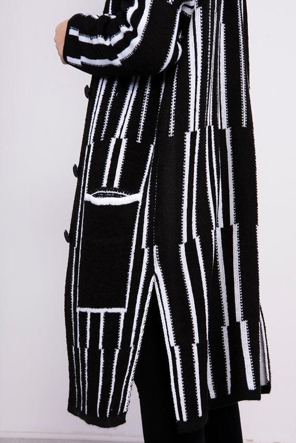 Black Longline Stripe Knitted Cardigan