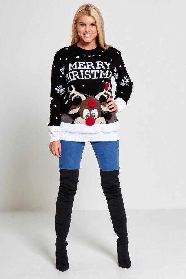 Black Merry Christmas Reindeer Knitted Jumper