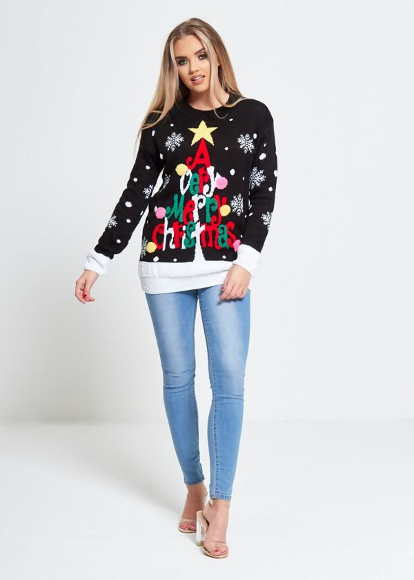 Black Merry Christmas Xmas Jumper