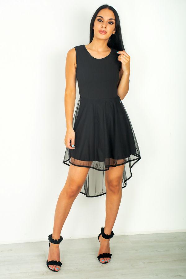 Black Mesh Overlay Dress