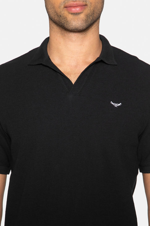 Black Oakley Cotton Pique Waffle Polo Shirt