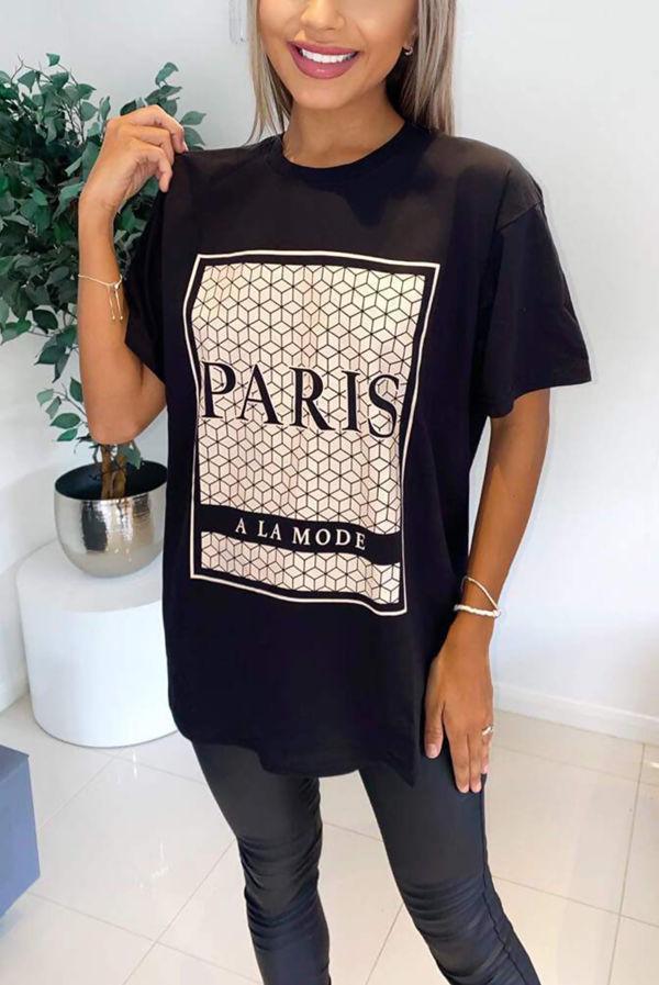 Black Paris Printed Oversized Tee Top