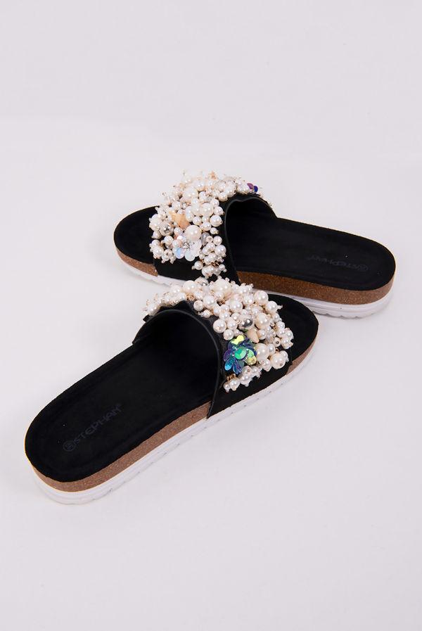 Black Pearl & Shell Decor Platform Sandals