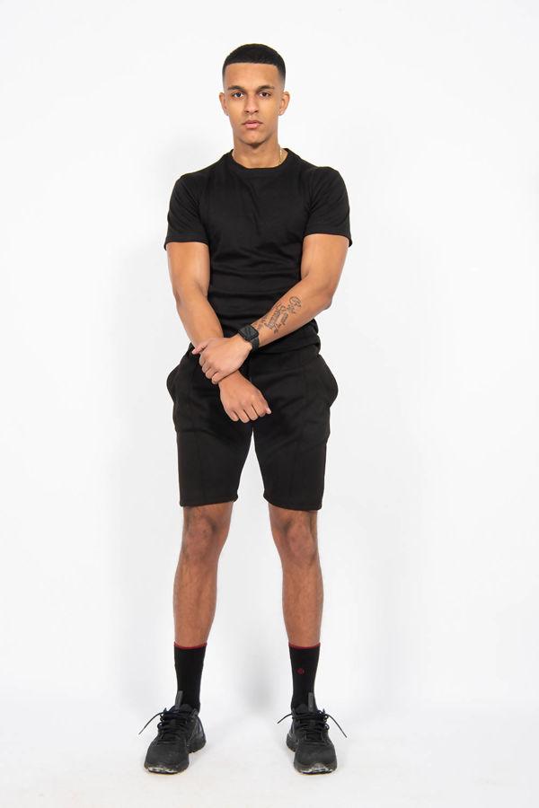 Black Pintuck T-shirt And Shorts Set