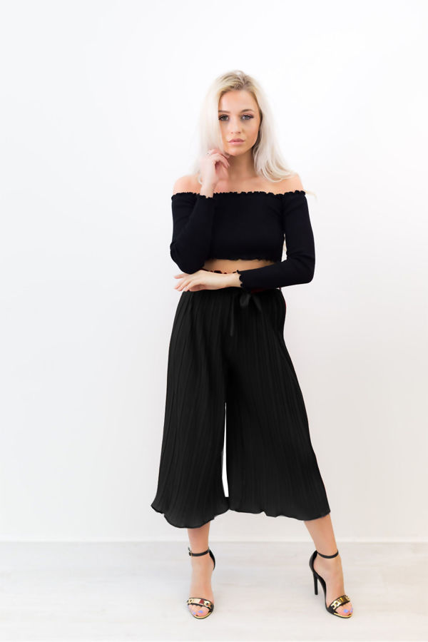Black Pleated Belt Wide Leg Trousers