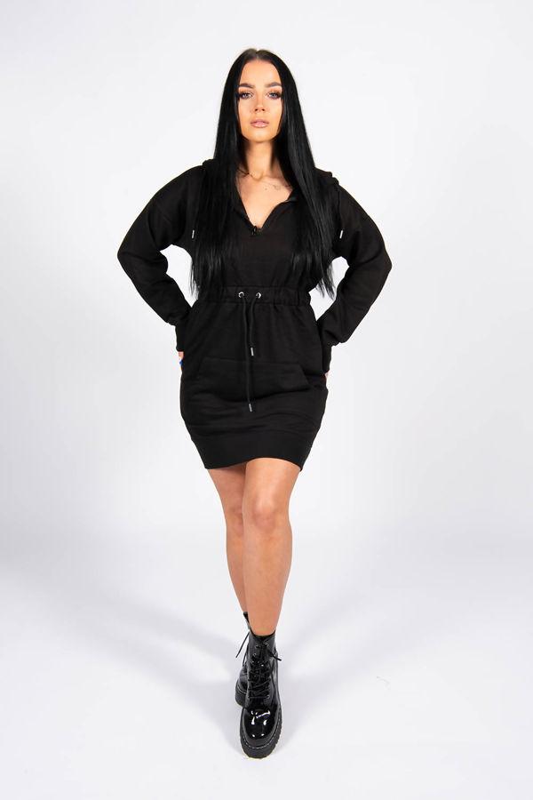 Black Pocket Detail Tie Waist Sweater Dress