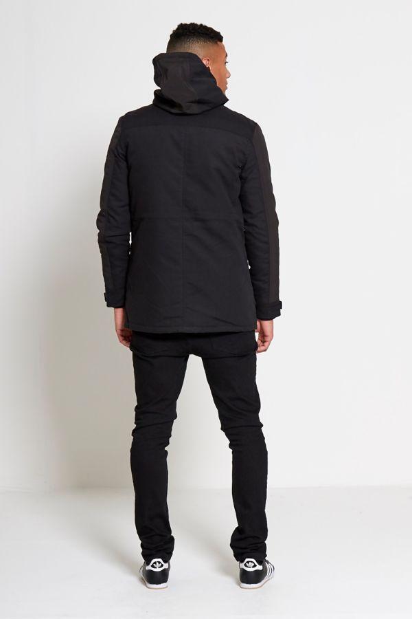 Black Pocket Front Hooded Jacket