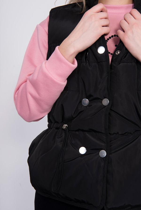 Black Pocket Front Puffer Gilet