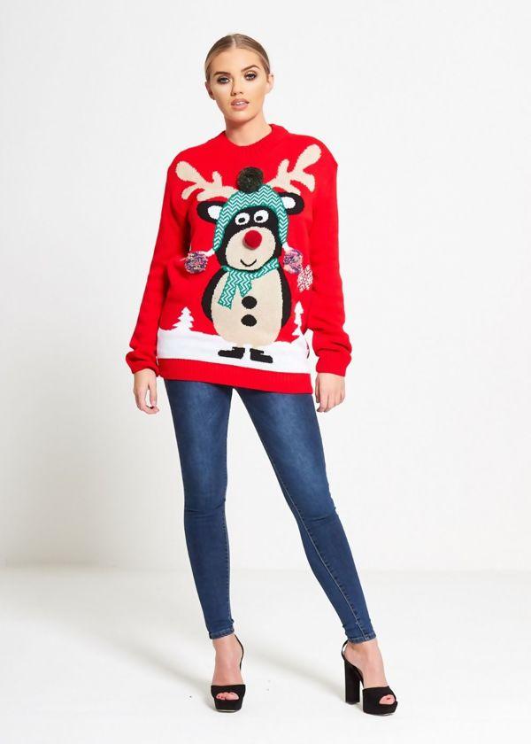 Black Pom Scarf Reindeer Knitted Christmas Jumper