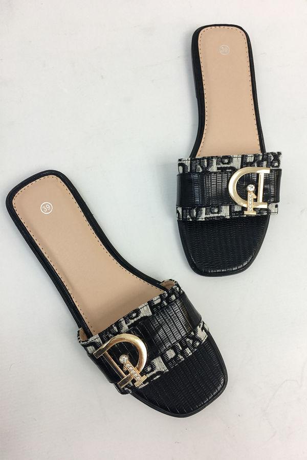 Black Printed Diamante Buckle Sliders