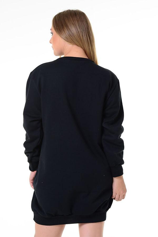Black Prosecco Pocket Detail Christmas Sweat Dress