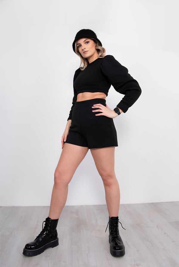 Black Puff Sleeve Cropped Top And Short Lounge Set