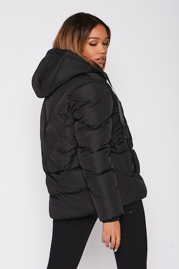 Black Puffer Hooded Coat Preorder