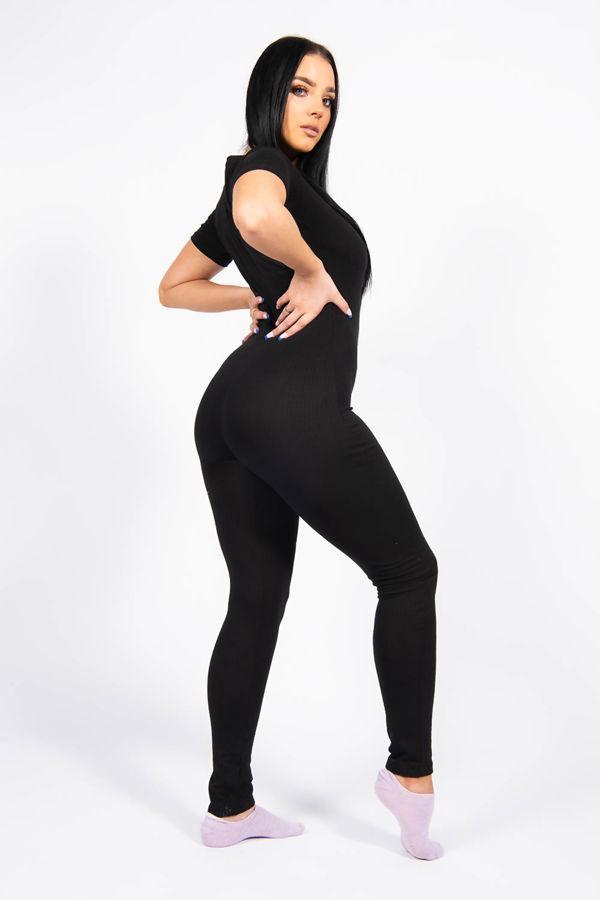 Black Rib Button Up Short Sleeve Jumpsuit