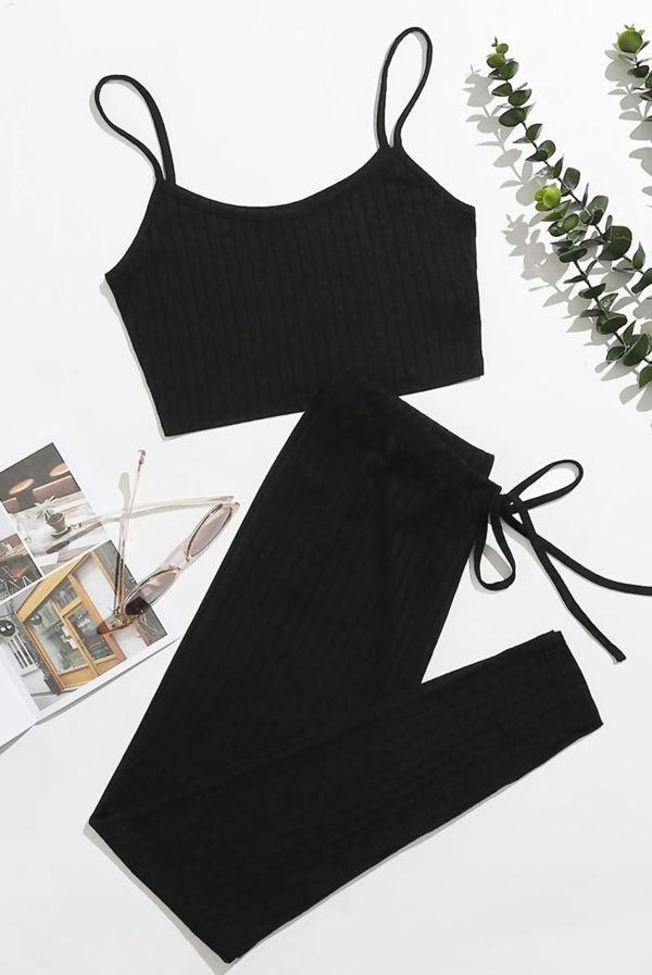 Black Rib-Knit Cami Top & Leggings Set