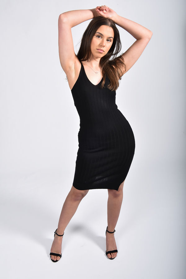 Black Ribbed Knitted Bodycon Dress With Side Split