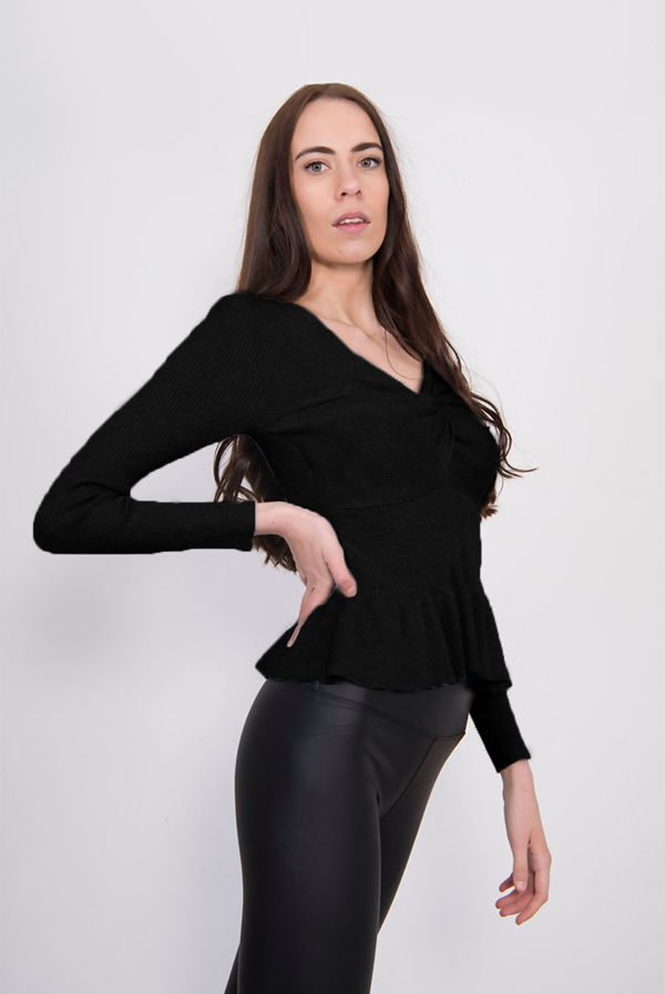 Black Ribbed Knot Front Peplum Top