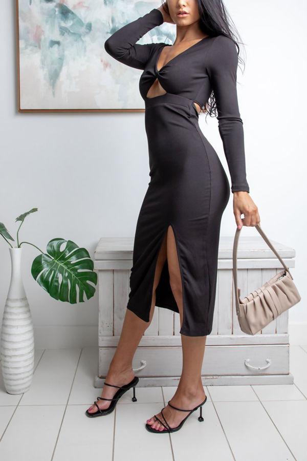 Black Ribbed Twist Bust Detail Long Sleeve Midi Dress