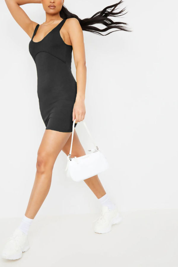 Black Ribbed Underbust Seam Detail Bodycon Dress