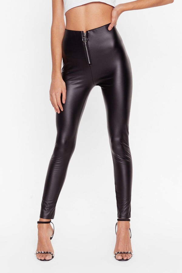 Black Ring Zip Front Faux Leather Leggings