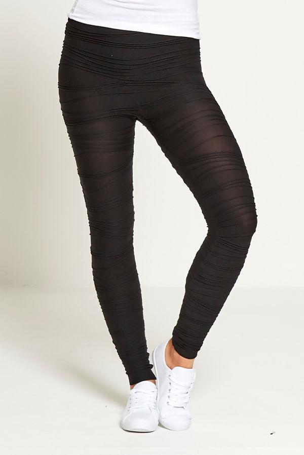 Black Ruched Detail Leggings