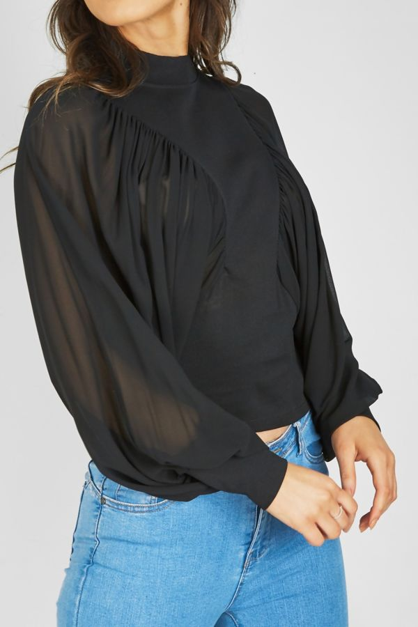 Black Ruched Dolman Top