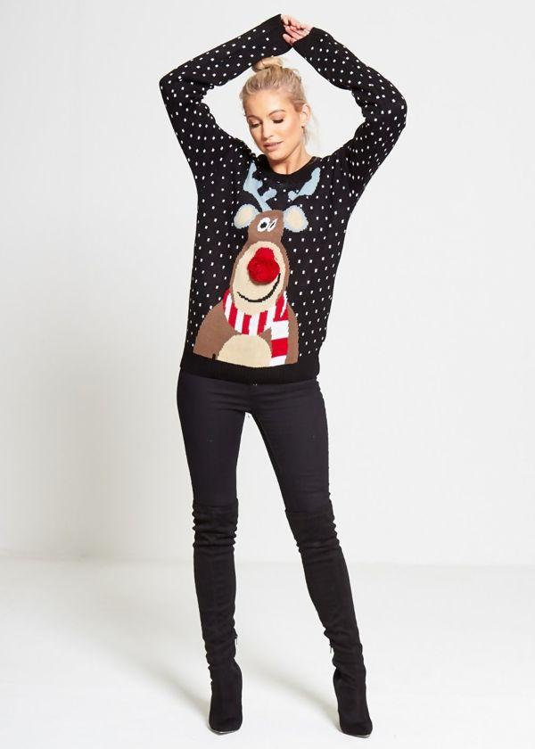 Black Rudolph Pom Pom Knitted Christmas Jumper