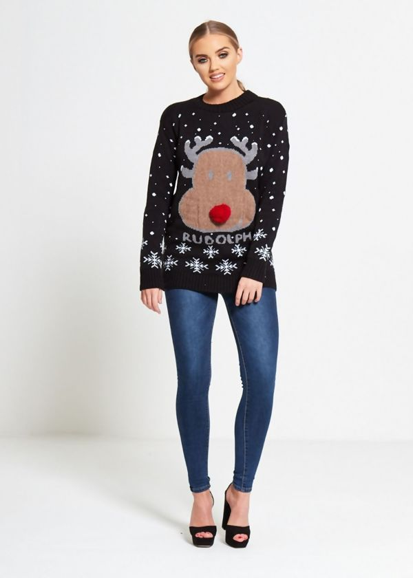 Black Rudolph Snowflake Christmas Knitted Jumper