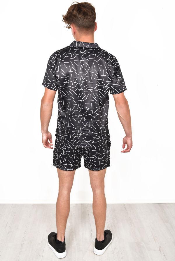 Black Satin Printed Shirt & Swim Short Set