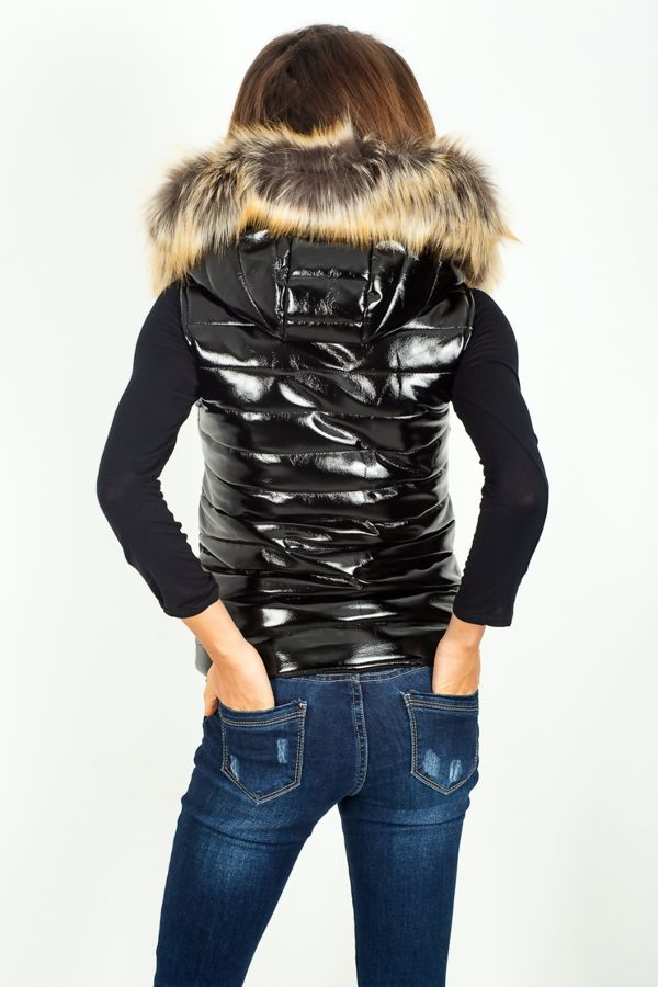 Black Shinny Hooded Gilet