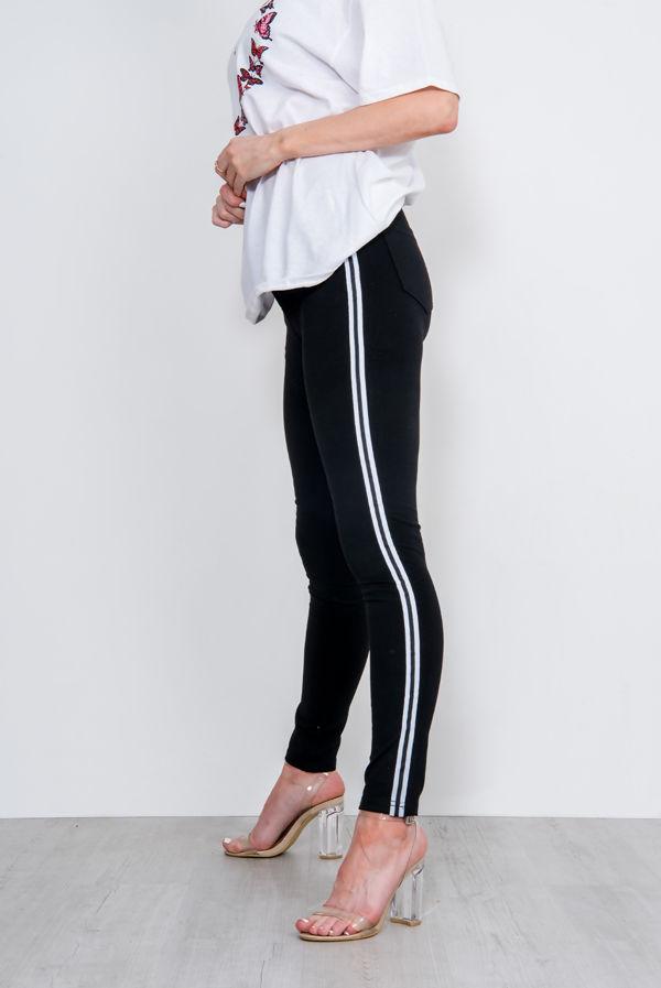 Black Side Striped Skinny Jeans