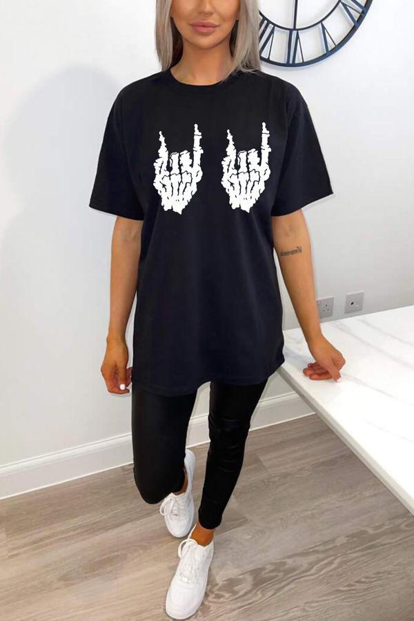Black Skeleton Hand Print Oversized Tee