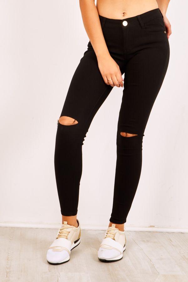Black Slit Knee Skinny Jeans