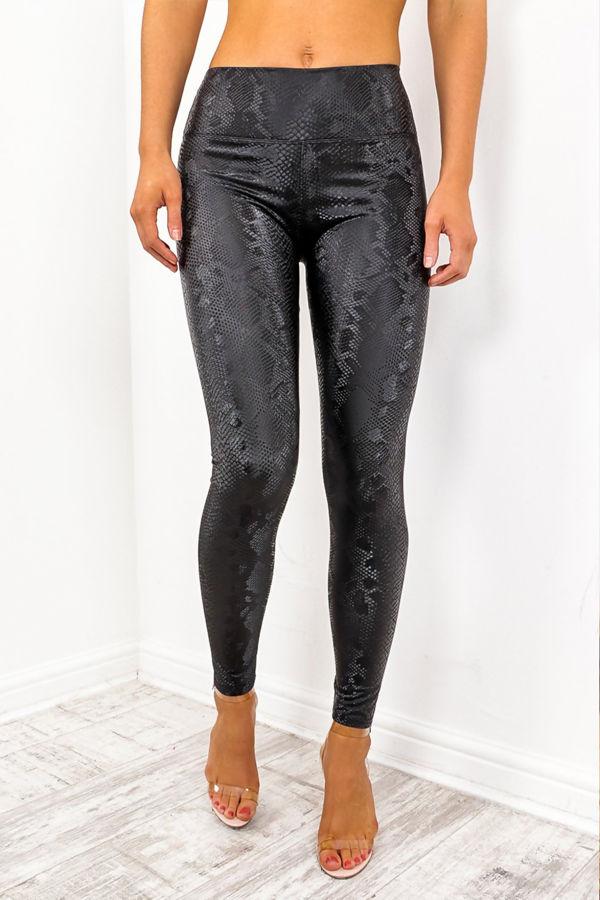Black Snakeskin Faux Leather Leggings