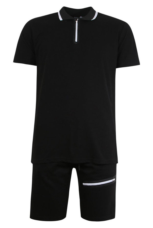 Black Sports Zip Polo and Slim Mid Length Short Set Size L