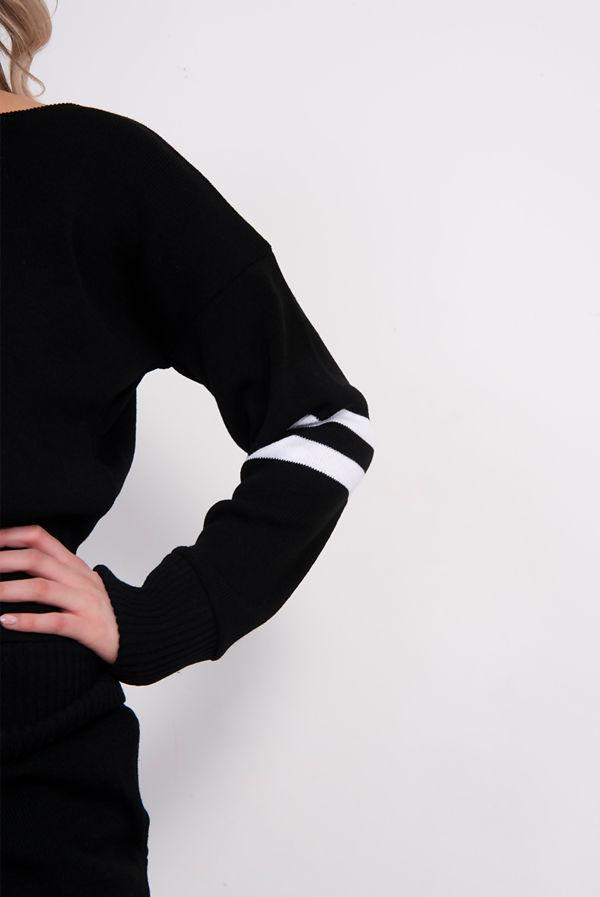 Black Stripe Detail Knitted Lounge Wear