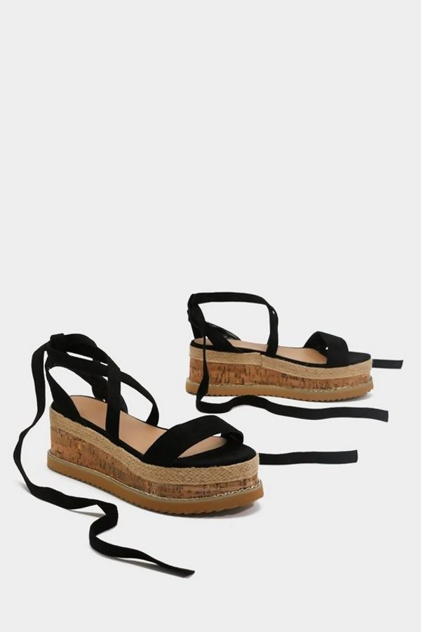 Black Suede Ankle Tie Flatform Sandals