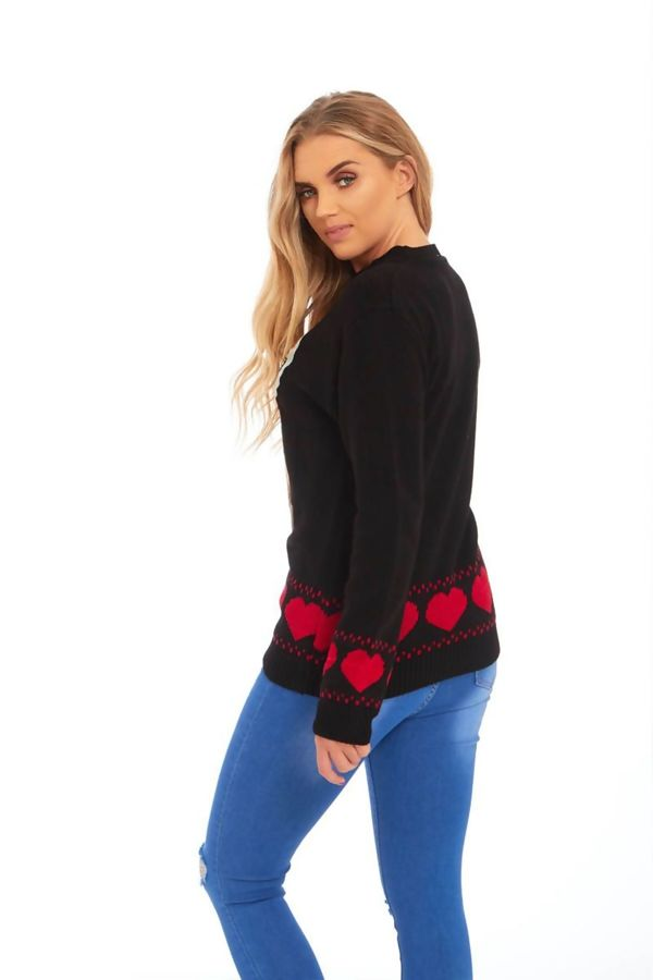 Black Suede Diamante Reindeer Heart Christmas Jumper