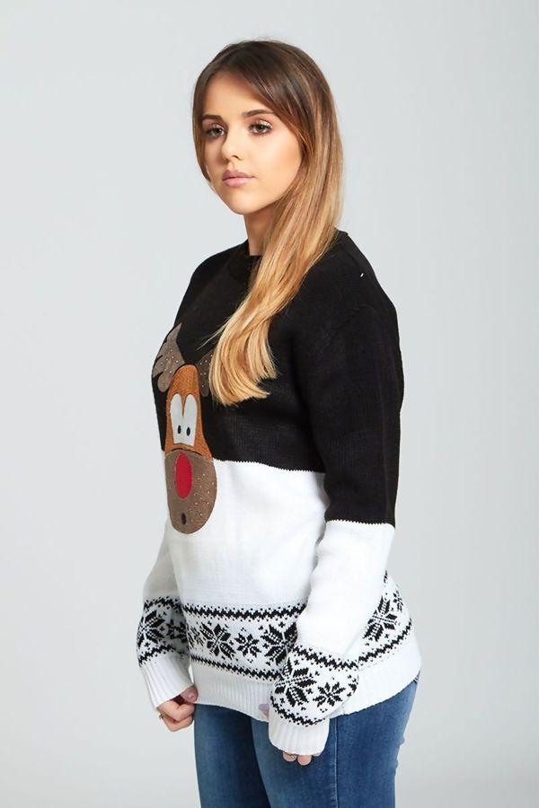 Black Suede Glitter Reindeer Christmas Jumper