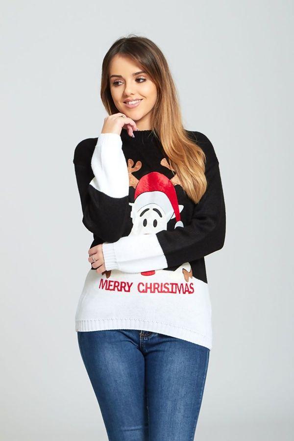 Black Suede Naughty Reindeer Merry Christmas Jumper