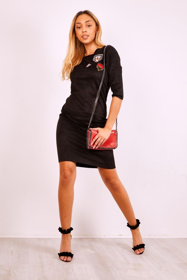 Black Suede Tiger Embroidery Mini Dress