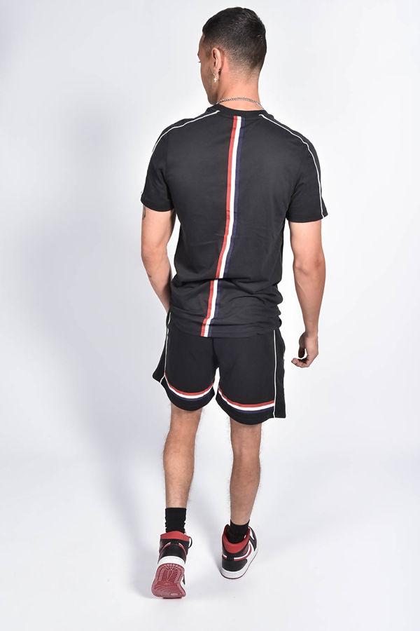 Black Tape Striped Back Piped Short Set