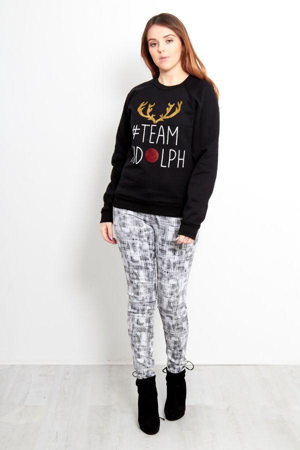 Black Team Rudolph Sweat Shirt
