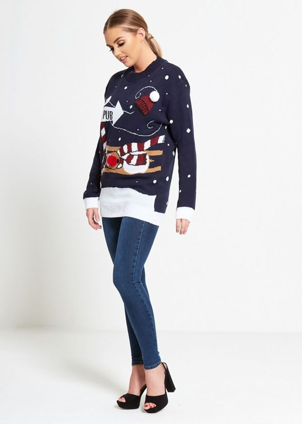 Black To The Pub Christmas Jumper