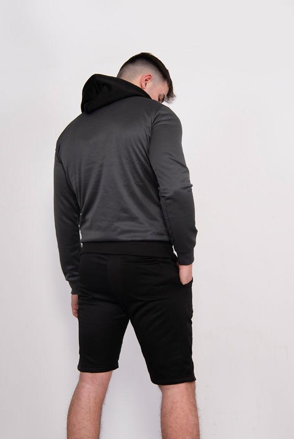 Black Two Tone Half Zip Hooded Short Set