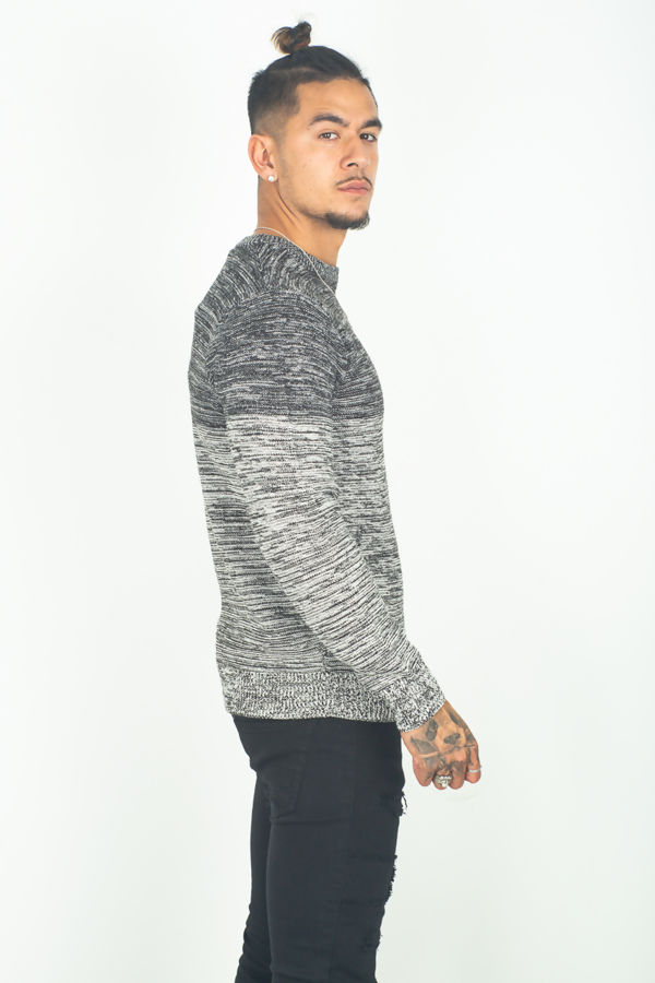 Black Two Tone Space Dye Jumper