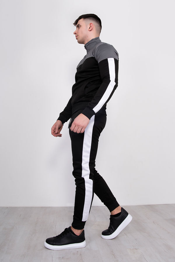 Black With Grey Panel Funnel Skinny Tracksuit