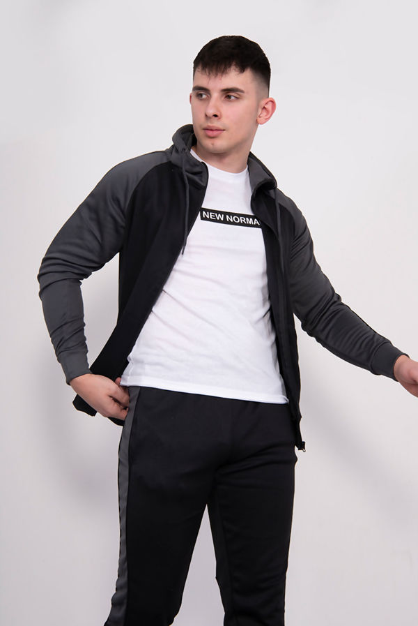 Black With Grey Piped Raglan Tracksuit Pre Order