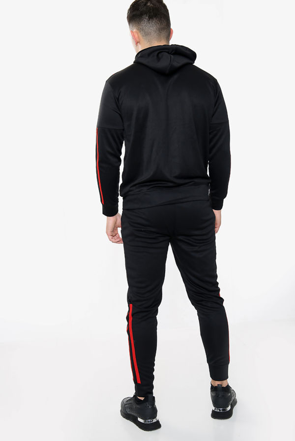 Black With Red Diamond Funnel Hood Tracksuit