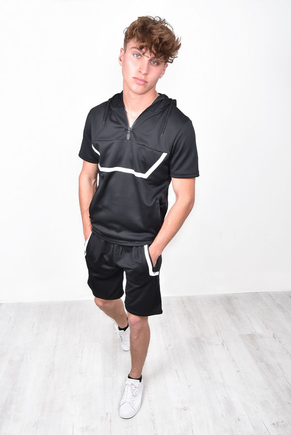 Black With White Panel Hoodie & Short Set